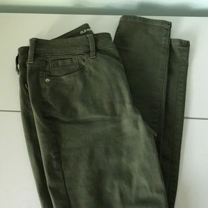 Olive-green jeans